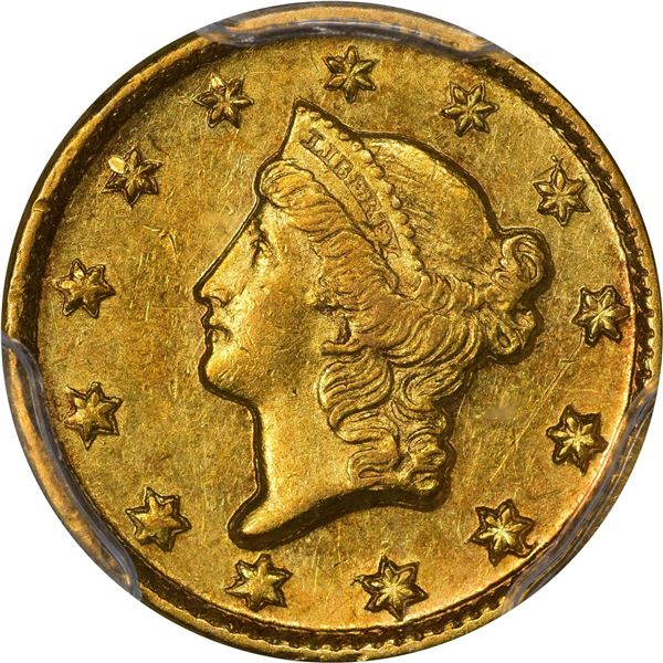 1850-D Gold $1. Winter 2-C; Only Die Pair. AU-58 PCGS..