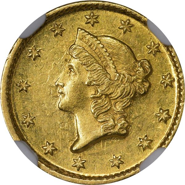 1852-D Gold $1. Winter 4-E; Only Die Pair. MS-61 NGC..