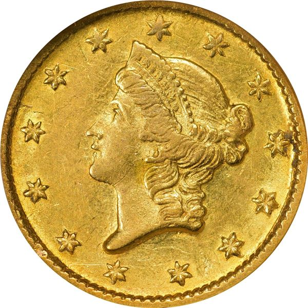 1852-D Gold $1. Winter 4-E; Only Die Pair. AU-55 NGC. CAC..