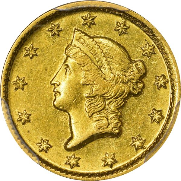 1853-D Gold $1. Winter 5-G; Only Die Pair. MS-62 PCGS.