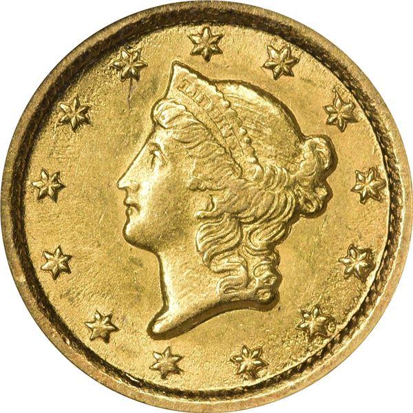 1853-O Gold $1. MS-61 NGC.