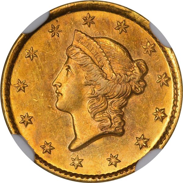 1854-D Gold $1. Winter 6-H; Only Die Pair. MS-61 NGC..