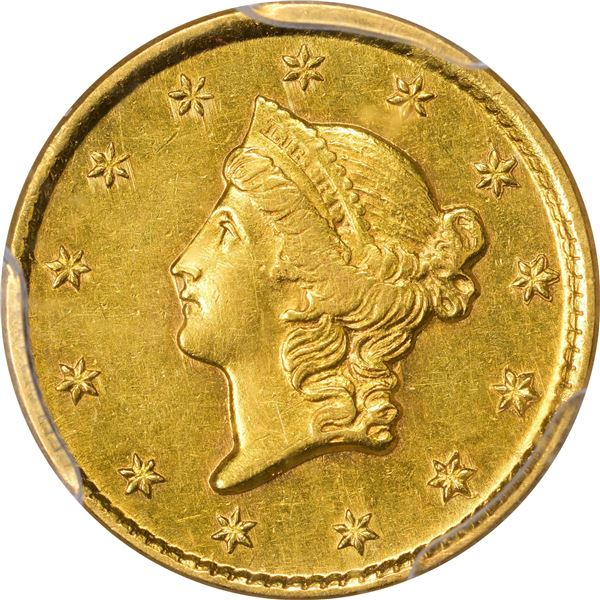 1854-D Gold $1. Winter 6-H; Only Die Pair. AU-55 PCGS..