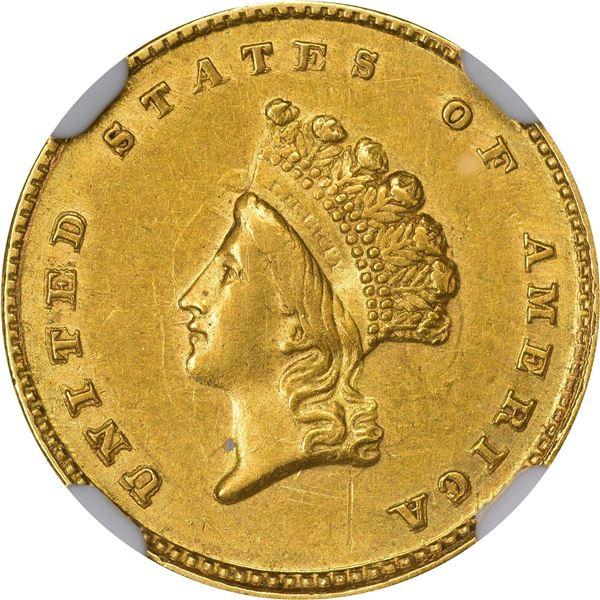 1855-D Gold $1. Winter 7-I. AU-58 NGC..