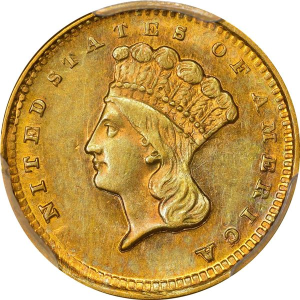 1856-D Gold $1. Winter 8-K; Only Die Pair. MS-62 PCGS..