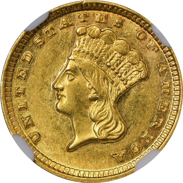 1857-D Gold $1. Winter 9-L; Only Die Pair. MS-61 NGC..