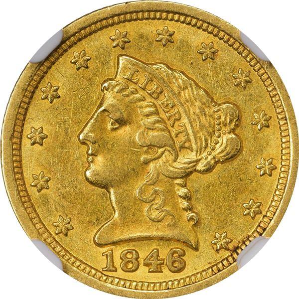 1846-D $2.50. Winter 8-M. AU-58 NGC..