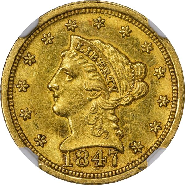 1847-D $2.50. Winter 9-N; Only Die Pair. MS-61 NGC..