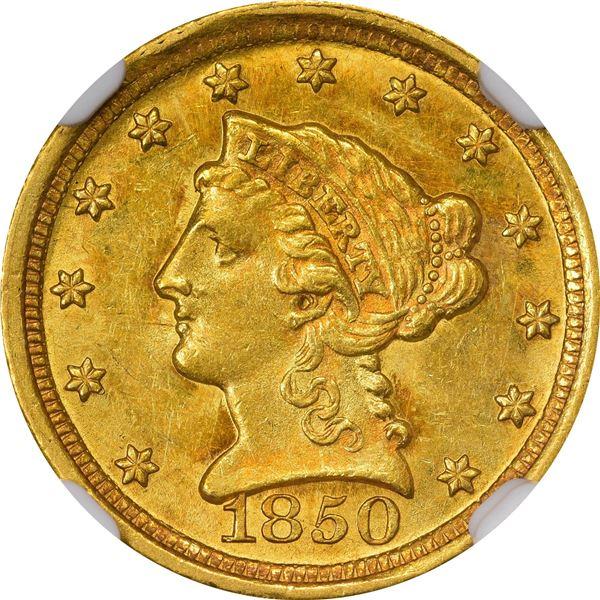 1850-D $2.50. Winter 13-N. MS-63 NGC..
