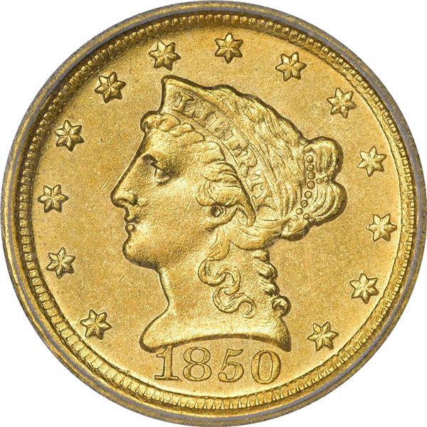 1850-D $2.50. Winter 13-N. MS-63 ICG