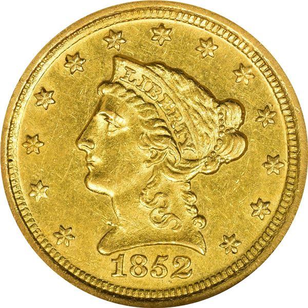 1852-D $2.50. Winter 16-N; Only Die Pair. AU-58 NGC.