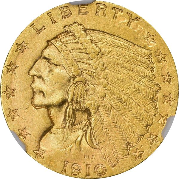 1910 Gold $2.50. MS-62 NGC.