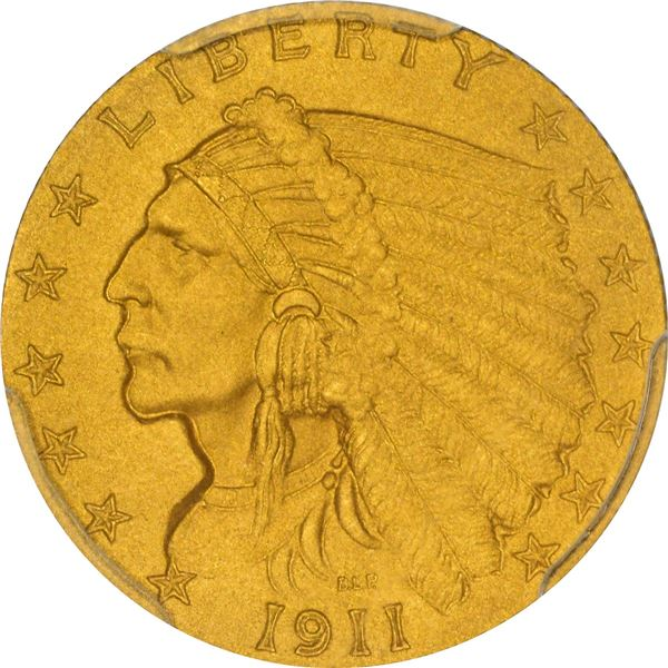 1911 Gold $2.50. Matte Proof-67 PCGS. CAC