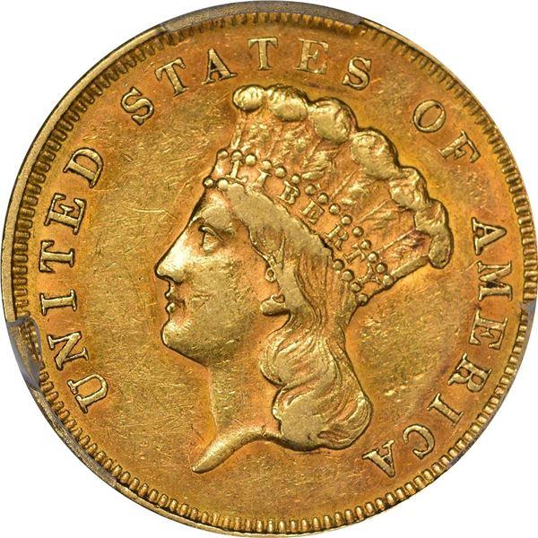 1857 Gold $3. AU-50 PCGS