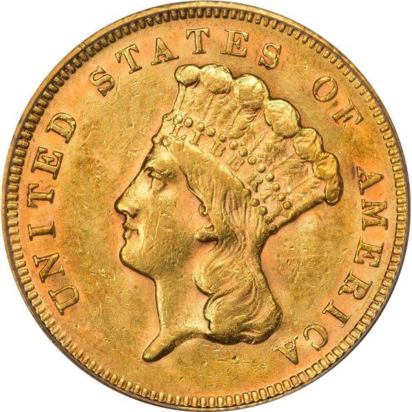 1878 Gold $3. AU-55 PCGS.