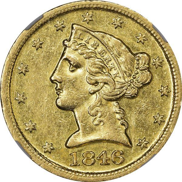 1846-D/D $5. Winter 17-J. VP-001. AU-55 NGC.