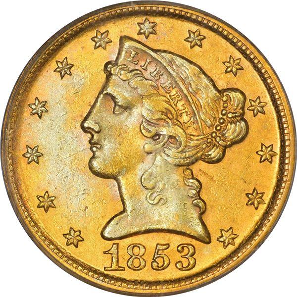 1853-D $5. Large D. Winter 35-AA. AU-58 PCGS.