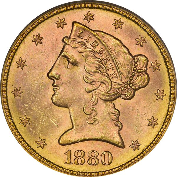 1880-S Gold $5. MS-63 PCGS. CAC