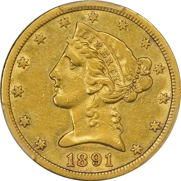 1891-CC Gold $5. PCGS EF Details – Genuine – Cleaned