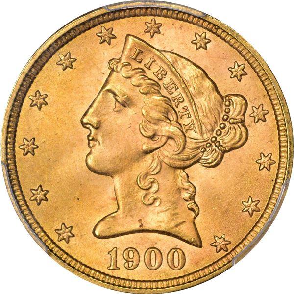 1900 Gold $5. MS-65 PCGS.