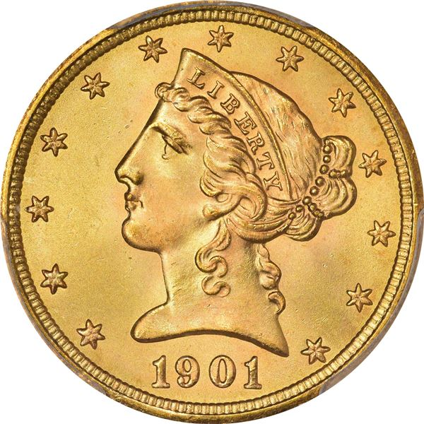 1901-S Gold $5. MS-67+ PCGS. CACV