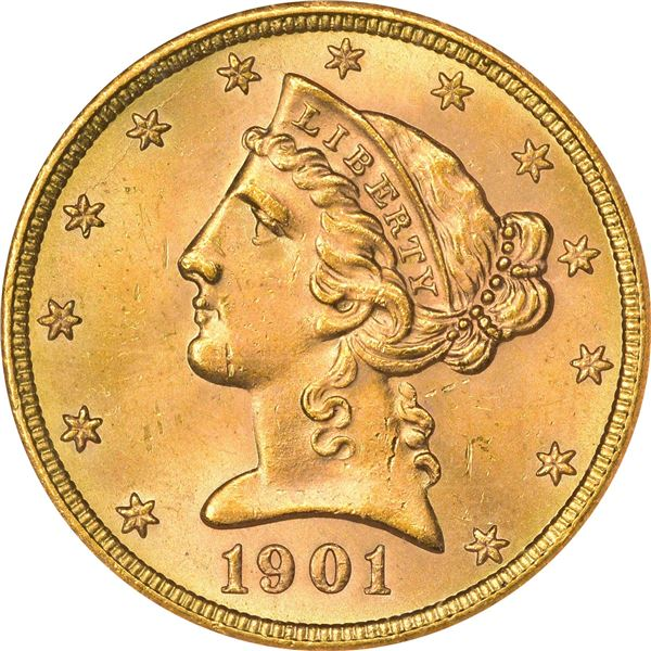 1901-S Gold $5. MS-65 NGC