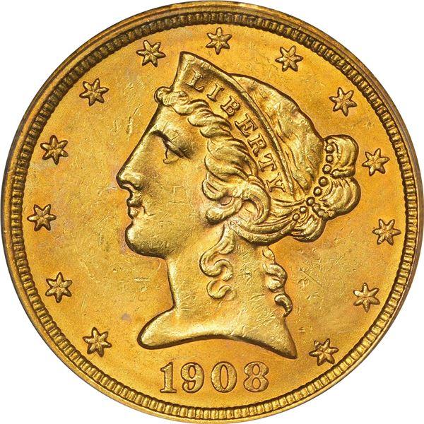 1908 Liberty. Gold $5. MS-62 PCGS. CAC