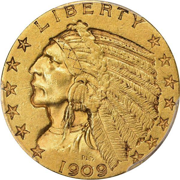 1909-O Gold $5. AU-53 PCGS.