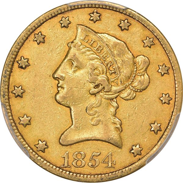 1854-O Gold $10. Small Date. EF-45 PCGS. CAC.