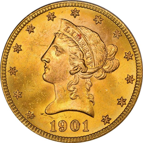 1901-S Gold $10. MS-64 PCGS. CAC