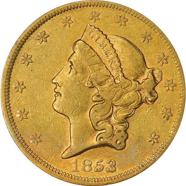 1853 Gold $20. EF-40 PCGS. OGH.