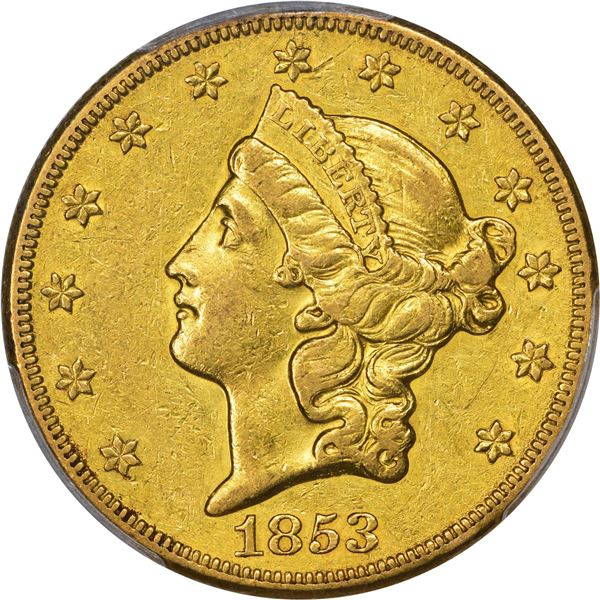 1853-O Gold $20. PCGS AU Details -- Genuine – Cleaned