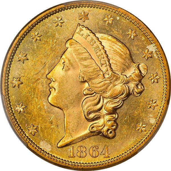 1864 $20. MS-62 PCGS