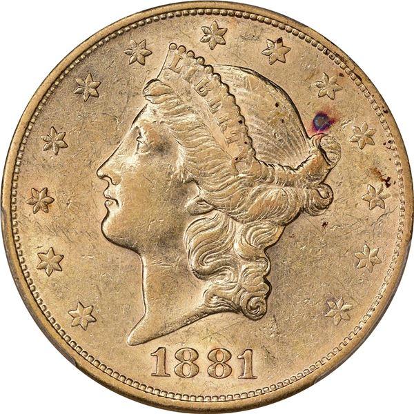 1881-S $20. AU-53 PCGS.