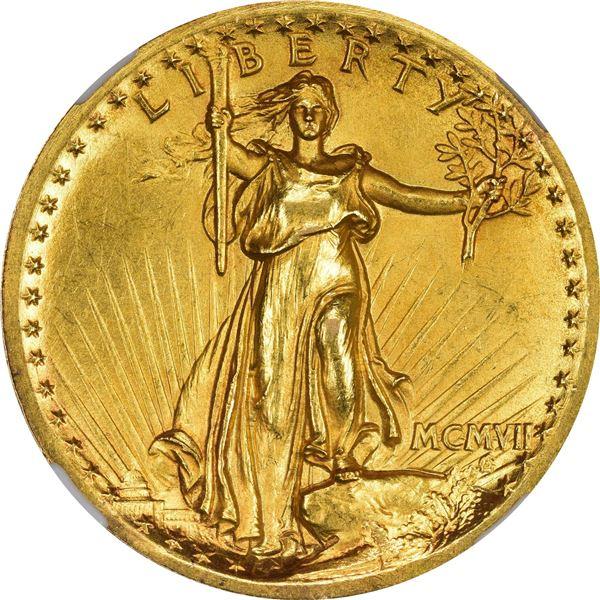 MCMVII (1907) Saint-Gaudens $20. High Relief. Proof-63 NGC. Wire RimV