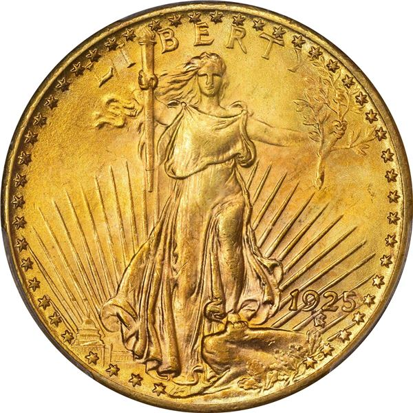 1925 Gold $20. PCGS MS-64. CAC