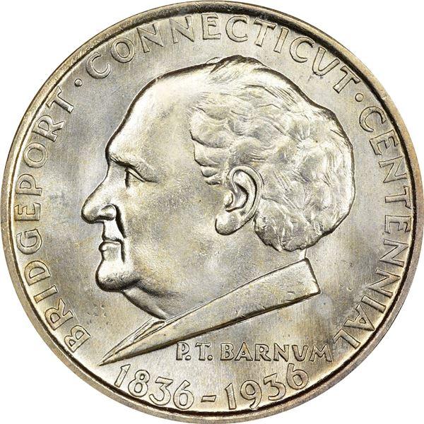 1936 Bridgeport Connecticut Centennial Half Dollar. MS-65 NGC. CAC