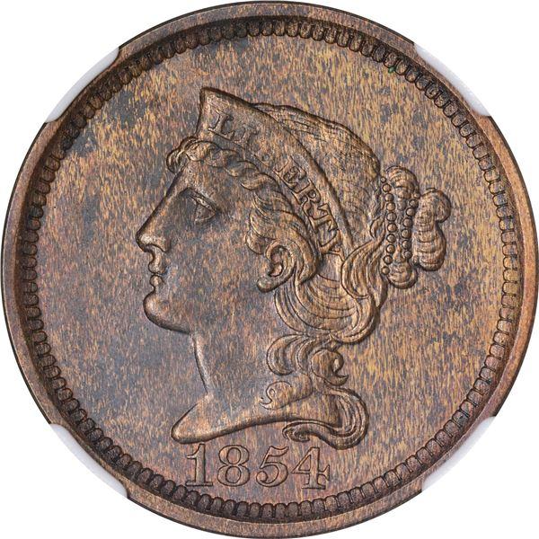 1854 Pattern 1¢. Judd-161, Pollock-187. Rarity-4. Bronze. Plain Edge. Proof-60 BN NGC.