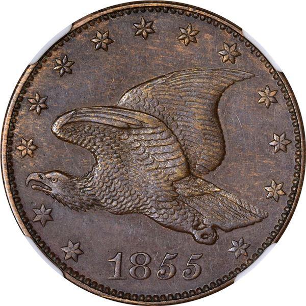 1855 Pattern 1¢. Judd-168, Pollock-193. Rarity-4. Bronze. Plain Edge. MS-63 BN NGC.