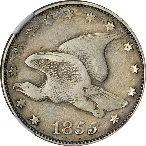 1855 Pattern 1¢. Judd-171A, Pollock-196. Rarity-8. German Silver. Plain Edge. Proof-40 NGC