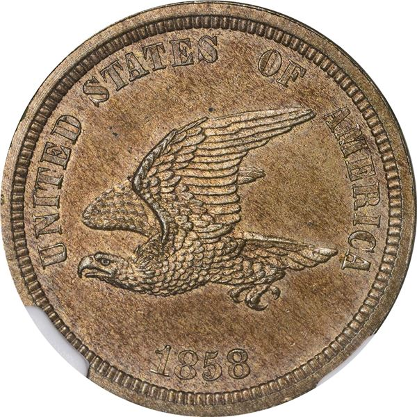 1858 Pattern 1¢. Judd-206, Pollock-242. Rarity-5. Copper-Nickel. Plain Edge. Proof-64 NGC
