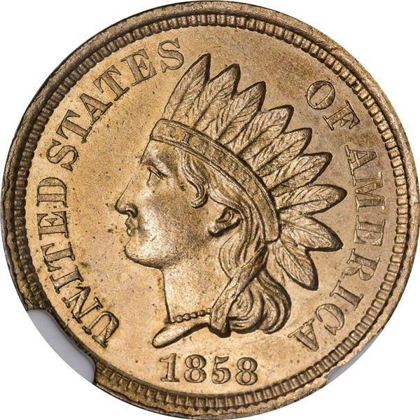 1858 Pattern 1¢. Judd-208, Pollock-259. Centered Date, 5 Leaves. Rarity-8. Copper-Nickel. Plain Edge