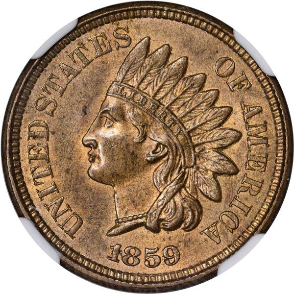 1859 Pattern 1¢. Judd-227, Pollock-271. Ornamental Shield. Rarity-Low 6. Copper-Nickel. Plain Edge.