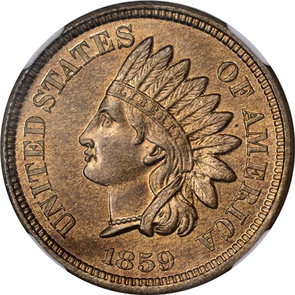 1859 Pattern 1¢. Judd-228, Pollock-272. Reverse of 1860. Rarity-1. Copper-Nickel. Plain Edge. MS-64