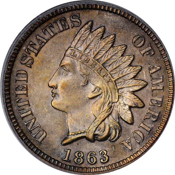 1863 Pattern 1¢. Judd-299, Pollock-359. Rarity-3. Bronze. Plain Edge. MS-63 BN PCGS. CAC
