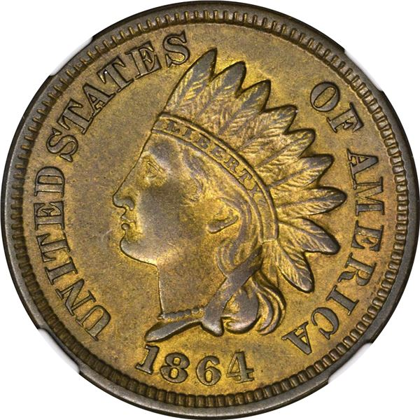 1864 Pattern 1¢. Judd-356A, Pollock-427. Thick Planchet. Rarity-Low 6. Copper or Bronze. Plain Edge.