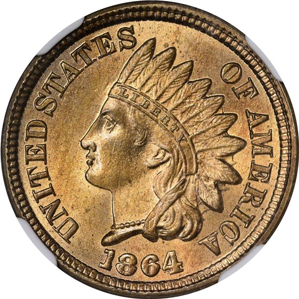 1864 Pattern 1¢. Judd-356B, Pollock-426A. Thin Planchet. Rarity-8. Copper-Nickel. Plain Edge. MS-65