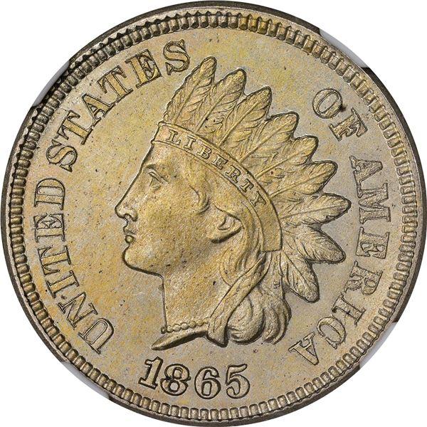 1865 Pattern 1¢. Judd-406, Pollock-476. Rarity-Low 6. Nickel. Plain Edge. Proof-64 NGC
