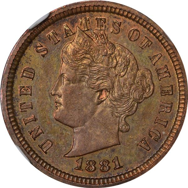 1881 Pattern 1¢. Judd-1666, Pollock-1866. Rarity-6. Copper. Plain Edge. Proof-64 RB NGC