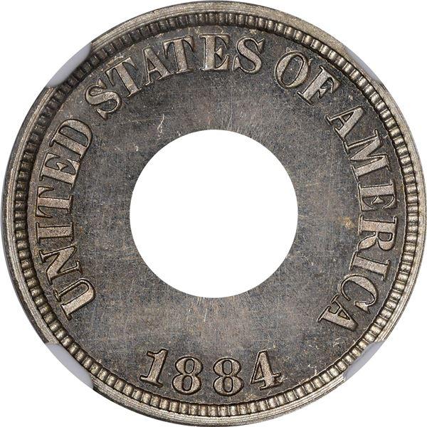 1884 Pattern 1¢. Judd-1721, Pollock-1929. Perforated. Thin Planchet. Rarity-?. Nickel. Plain Edge. P